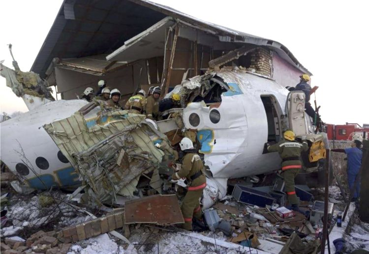 AT LEAST 15 DEAD AFTER A 98 SEATERS PASSENGER PLANE CRASHES IN KAZAKHSTAN
