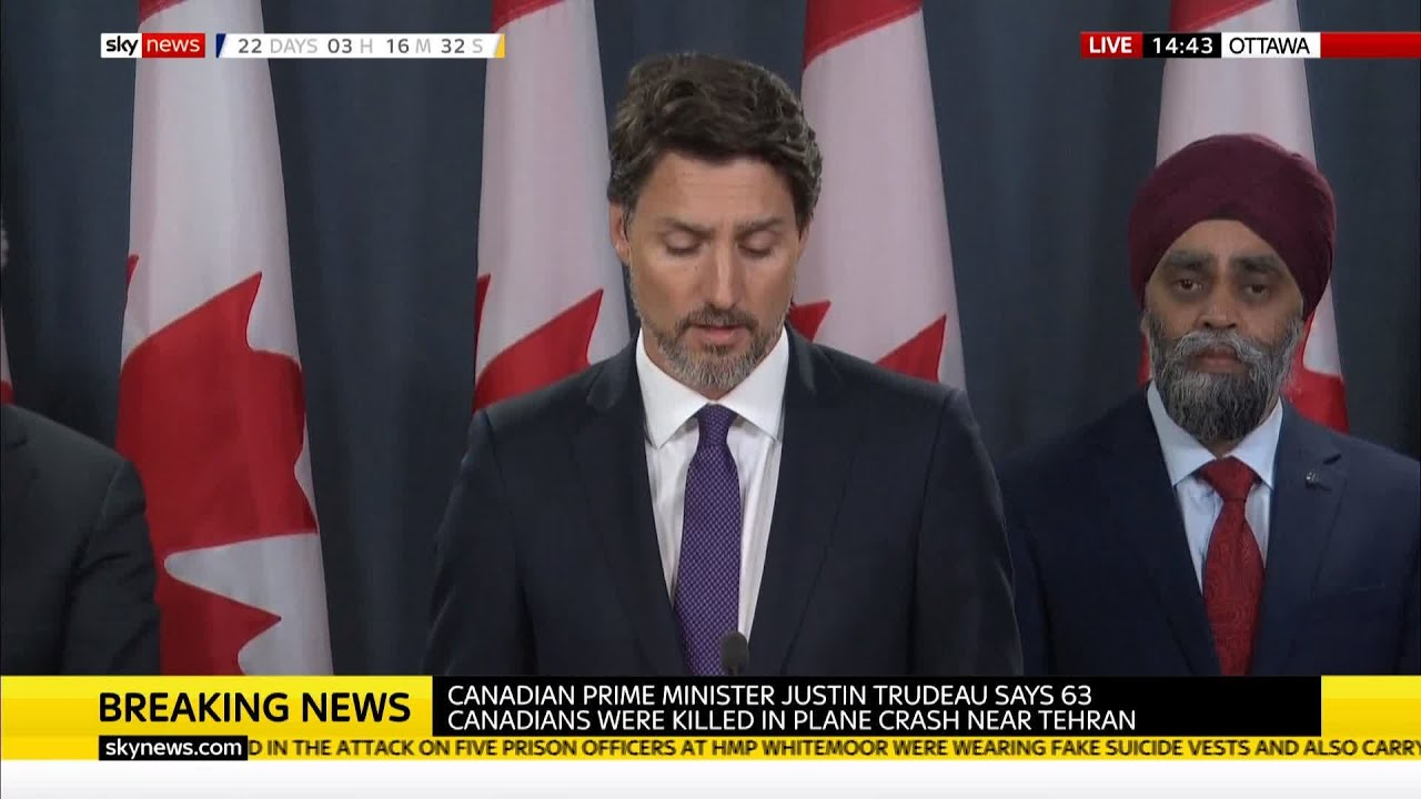 "Iran Plane Crash: "" the plane was shot down by an Iranian STA Missile."" Justin Trudeau"