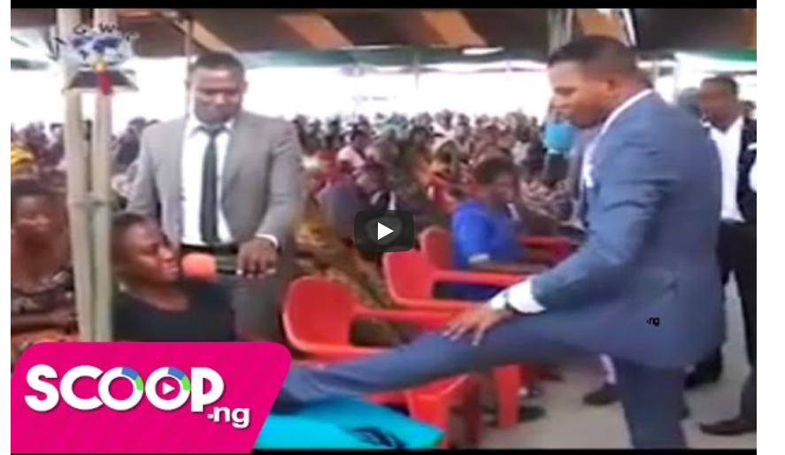 VIDEO: Pastor Smashing and Kicking A Pregnant Woman On Her Stomach For Safe Delivery