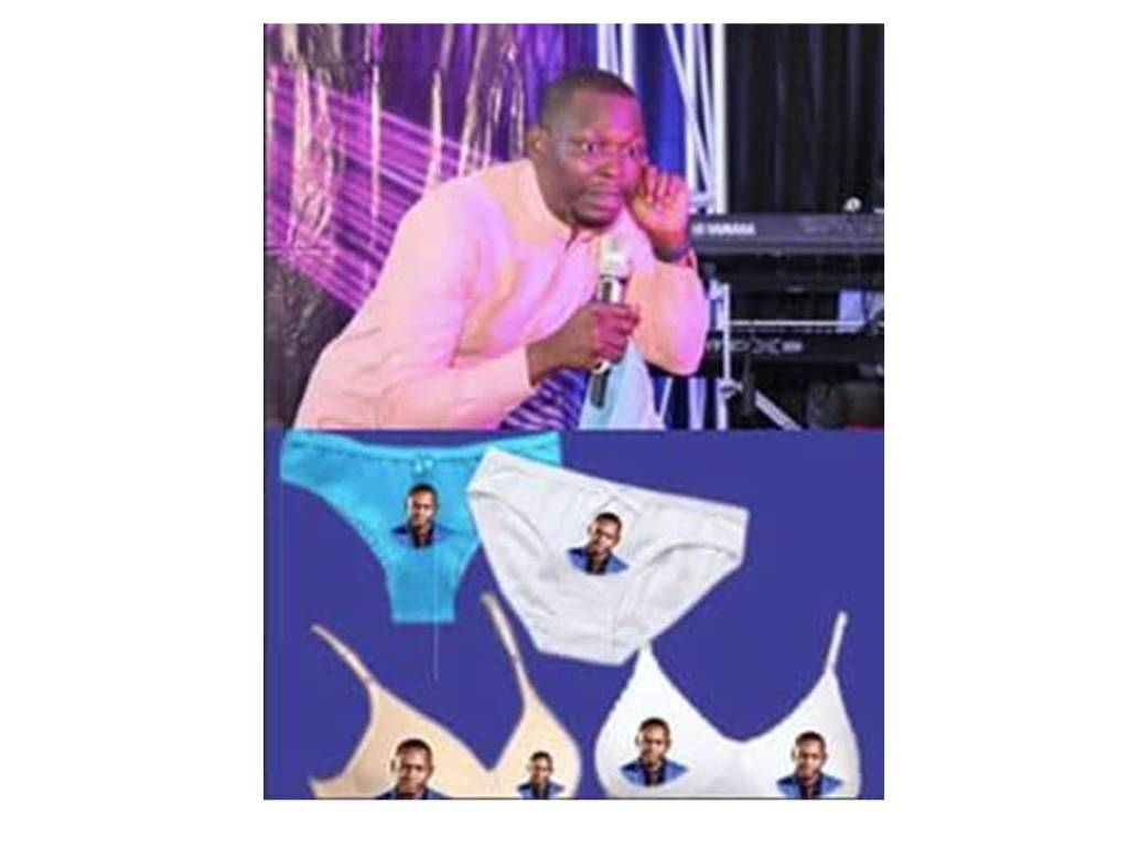 PASTOR INTRODUCES ANOINTED PANT AND BRA WITH A PRINT OF HIS FACE TO HELP LADIES ATTRACT MEN FOR MARRIAGE
