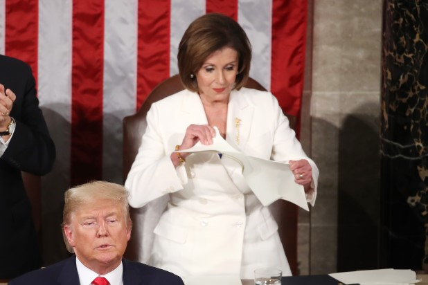 Nancy Pelosi Tears Up Trump's Speech at the End of the State of the Union Address