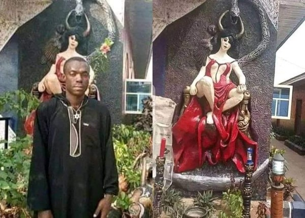 Photos: Church Of Satan demolished in Nigeria, police arrest founder